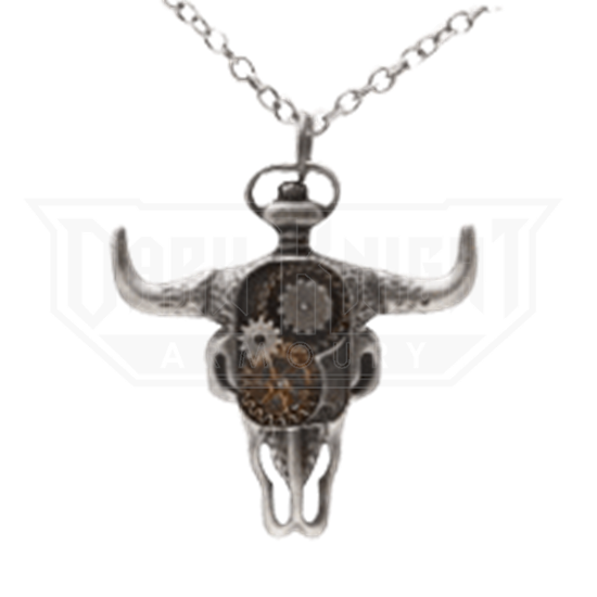 Clockwork Bison Skull Steampunk Necklace