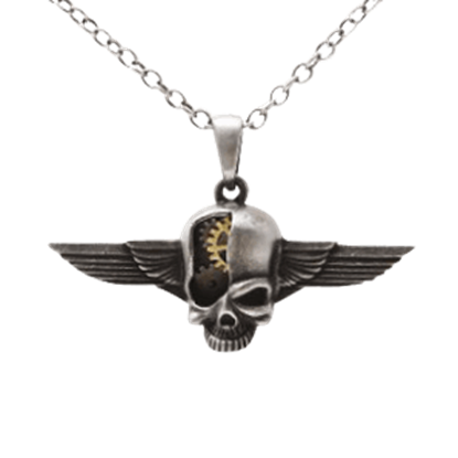 Winged Cyborg Skull Steampunk Necklace
