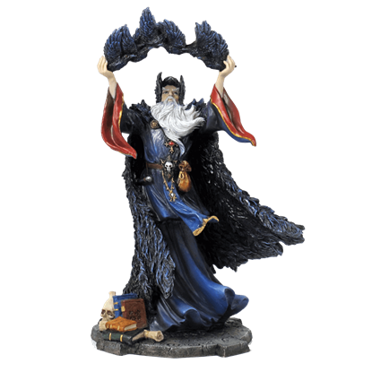 Fantasy Wizard With Crows Statue