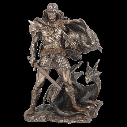 Viking Warrior And Dragon Statue