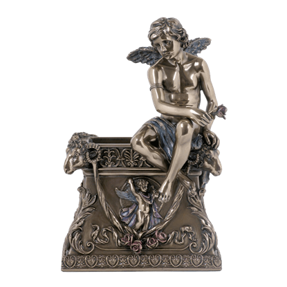 Cherub Holding Rose Pen Holder