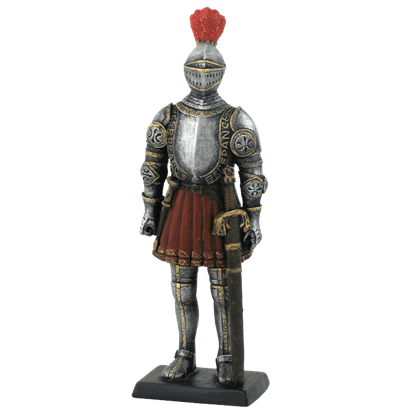Armored Knight With Feather Plume Helmet Statue