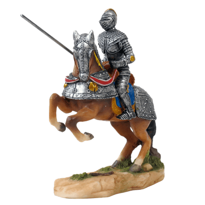 Armored Knight With Jousting Lance On Rearing Horse Statue