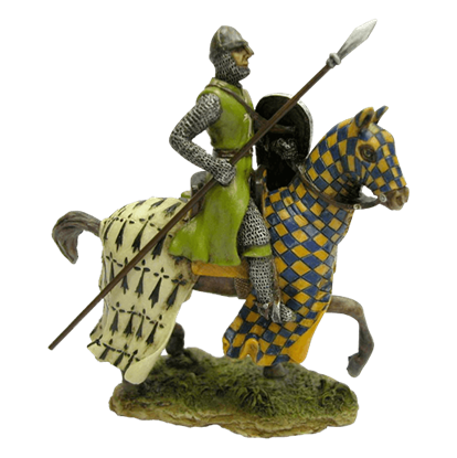Armored Crusader On Horse With Checker Caparison Statue