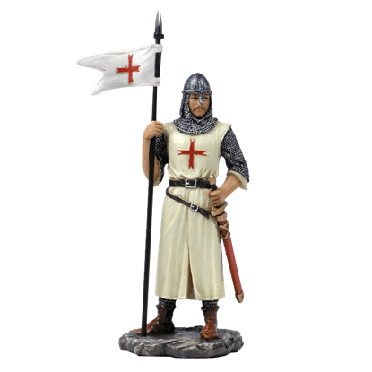 Armored Crusader With Flag In Right Hand Statue