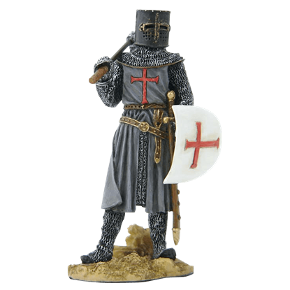 Armored Crusader - Holding Shield And Axe Statue