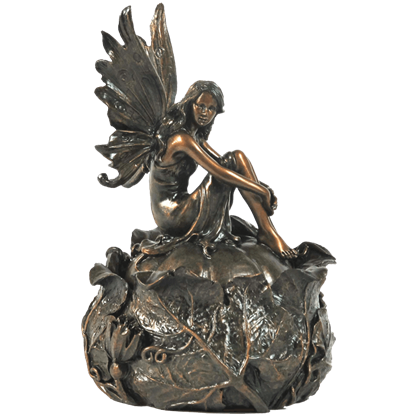 Bronze Fairy On Squash Trinket Box