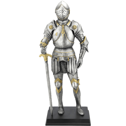 Medieval Armor Holding a Sword Statue