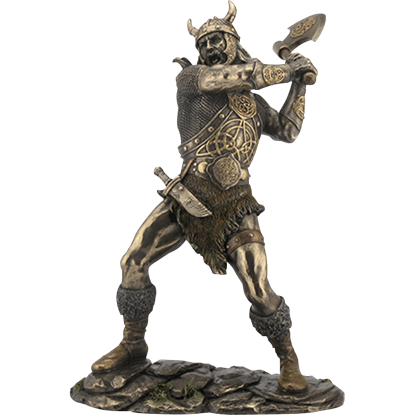 Viking Warrior Swinging an Ax Statue