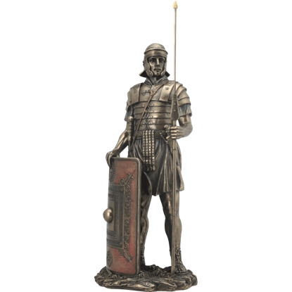 Roman Soldier with Javelin and Shield Statue