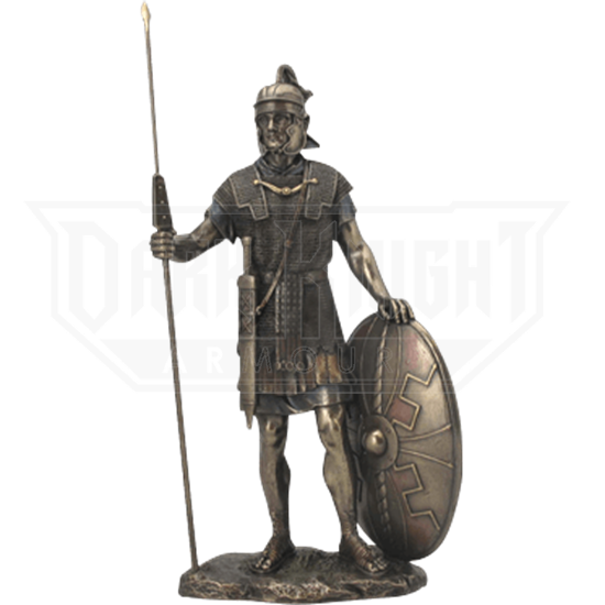 Roman Warrior with Spear and Shield Statue