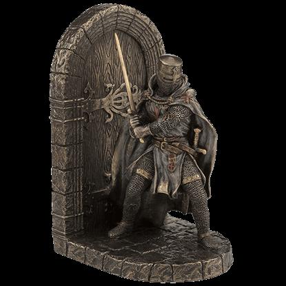 Great Helm Crusader Guarding Door Bookend