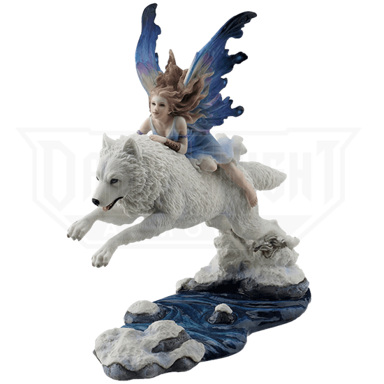 Fairy Riding on Leaping Arctic Wolf Statue