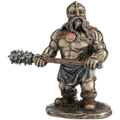 Viking Warrior With Long Spiked Club Statue