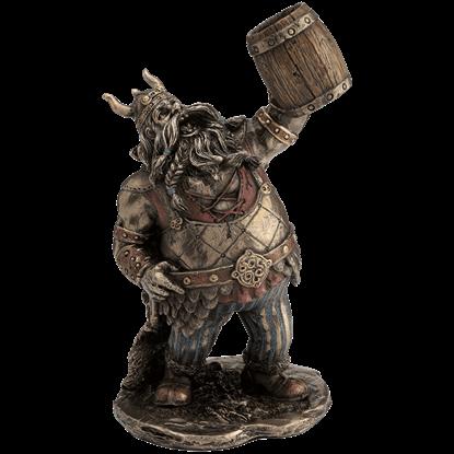 Viking Warrior Toasting With Wooden Mug Statue