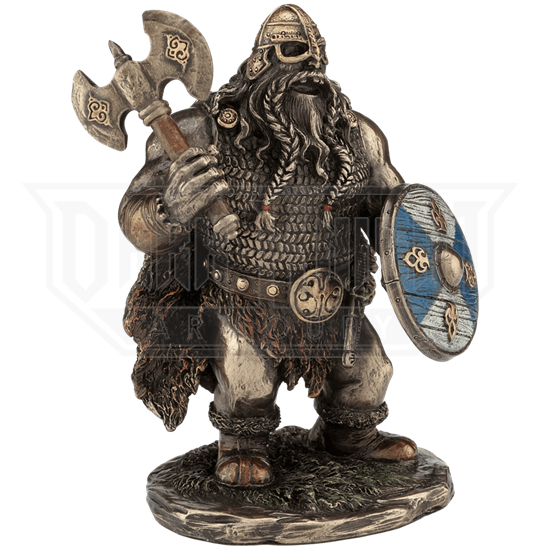 Viking Warrior With Double Bladed Axe Statue