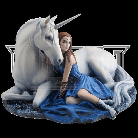 Blue Moon Unicorn and Maiden Statue