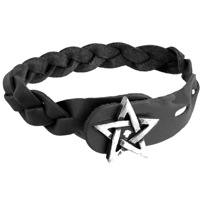 Pentagram Gaelic Plait Leather Bracelet