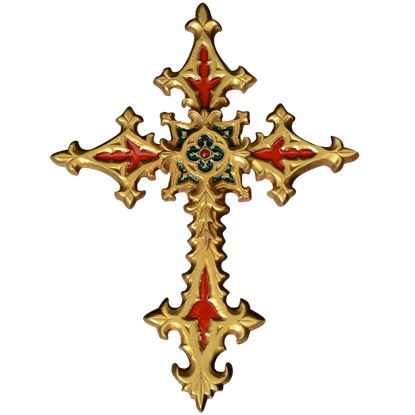 Golden Gothic Cross Wall Hanging