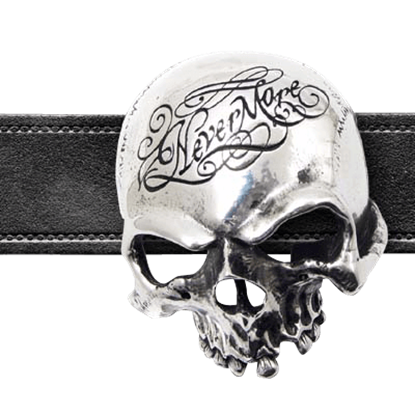 Nevermore Skull Belt Buckle