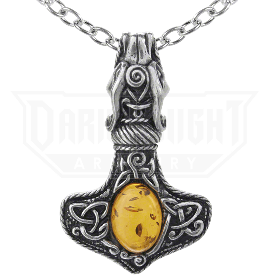 Amber Dragon Thorhammer Necklace