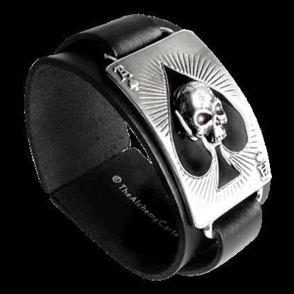 Ace of Dead Spades Leather Bracelet