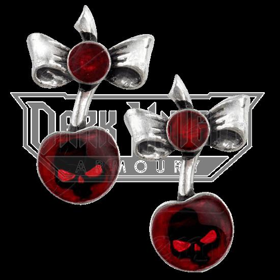 Black Cherry Skull Stud Earrings