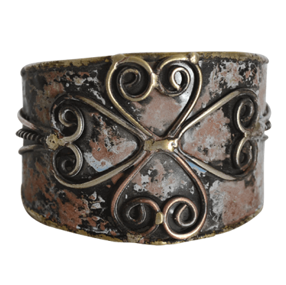 Aged Antique Mixed Metal Cuff Bracelet