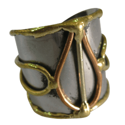 Mixed Metal Bulb Cuff Ring