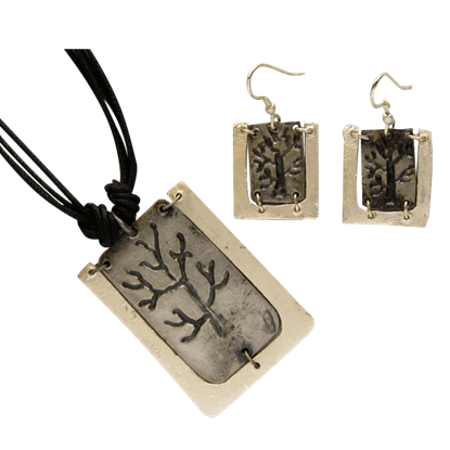 Antiqued Silver Engraved Tree Necklace and Earring Set