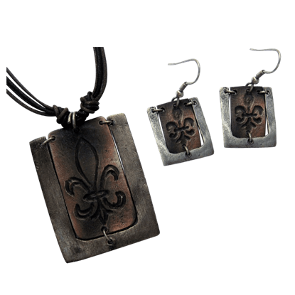 Antiqued Silver and Copper Fleur De Lis Necklace and Earring Set