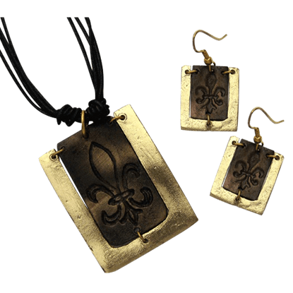 Antiqued Brass Fleur De Lis Necklace and Earring Set