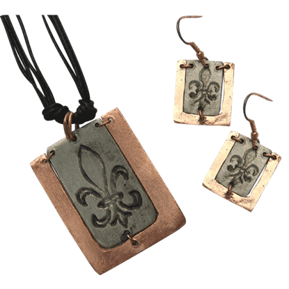 Copper and Antique Silver Fleur De Lis Necklace and Earring Set