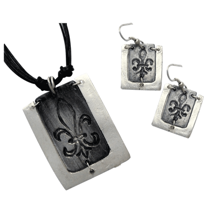 Antiqued Silver Fleur De Lis Necklace and Earring Set