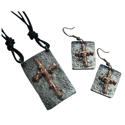 Copper and Antique Silver Wooden Cross Necklace and Earring Set