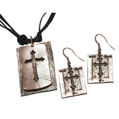 Copper and Antique Silver Cut-out Cross Necklace and Earring Set