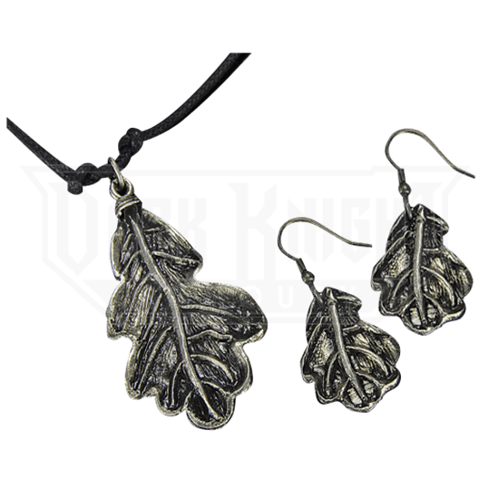 Antique Silver Oak Leaf Necklace and Earring Set