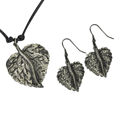 Antique Silver Round Leaf Necklace and Earring Set