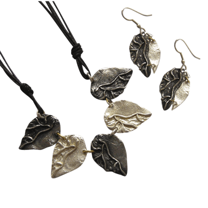 Antiqued Silver Leaves Necklace and Earring Set