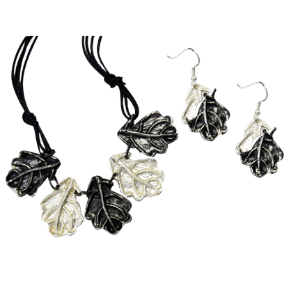 Antiqued Silver Oak Leaves Necklace and Earring Set