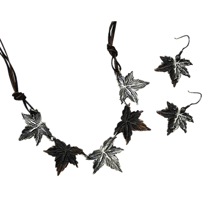 Antiqued Silver and Copper Lobed Leaves Necklace and Earring Set