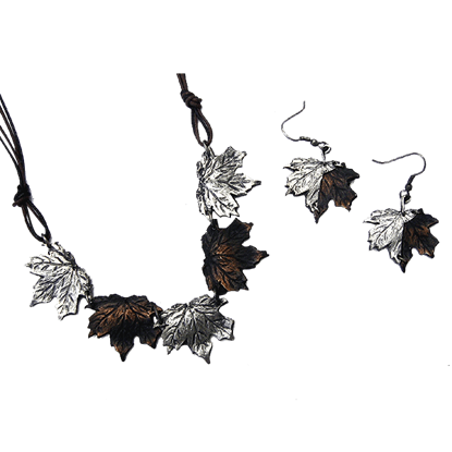 Antiqued Silver and Copper Maple Leaves Necklace and Earring Set