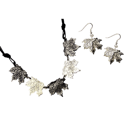 Antiqued Silver Maple Leaves Necklace and Earring Set