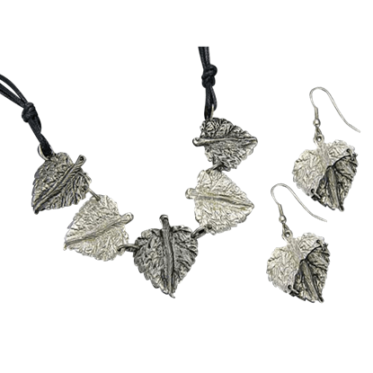 Antiqued Silver Round Leaves Necklace and Earring Set