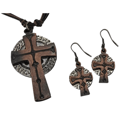 Antiqued Silver and Copper Celtic Cross Necklace and Earring Set