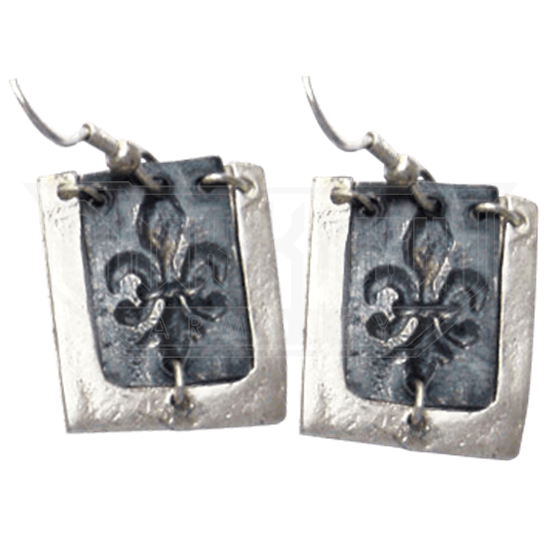 Antiqued Silver Fleur De Lis Earrings
