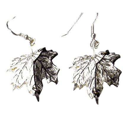 Antiqued Silver Maple Leaf Earrings
