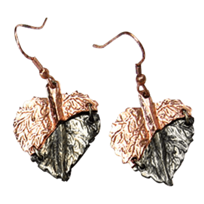 Copper and Antique Silver Leaf Earrings