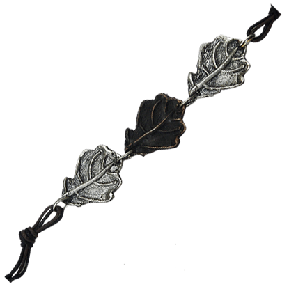 Antiqued Silver and Copper Oak Leaf Bracelet