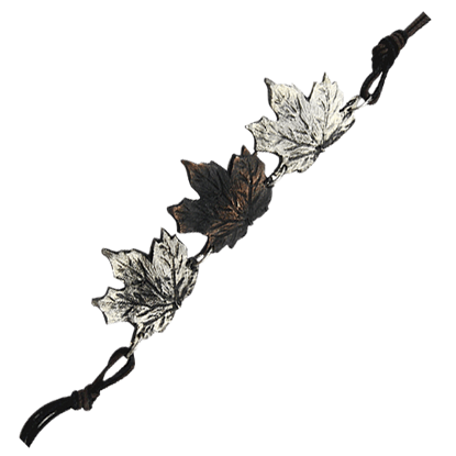 Alternating Antiqued Maple Leaf Bracelet